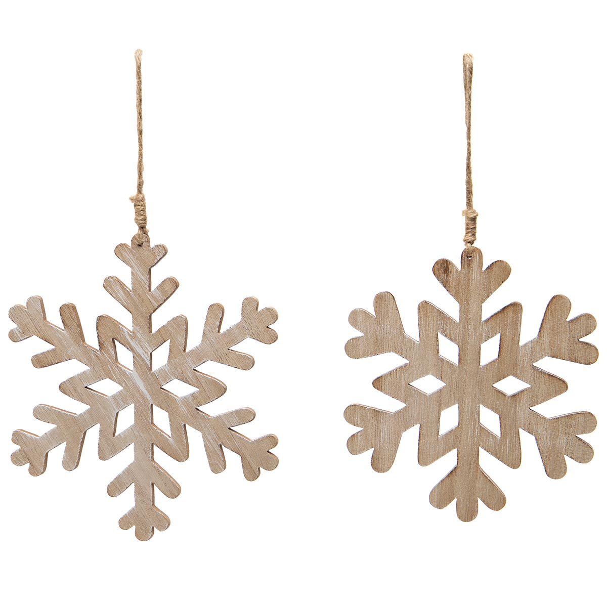 ALPINE SNOWFLAKE WOOD ORNAMENT NATURAL WITH TWINE