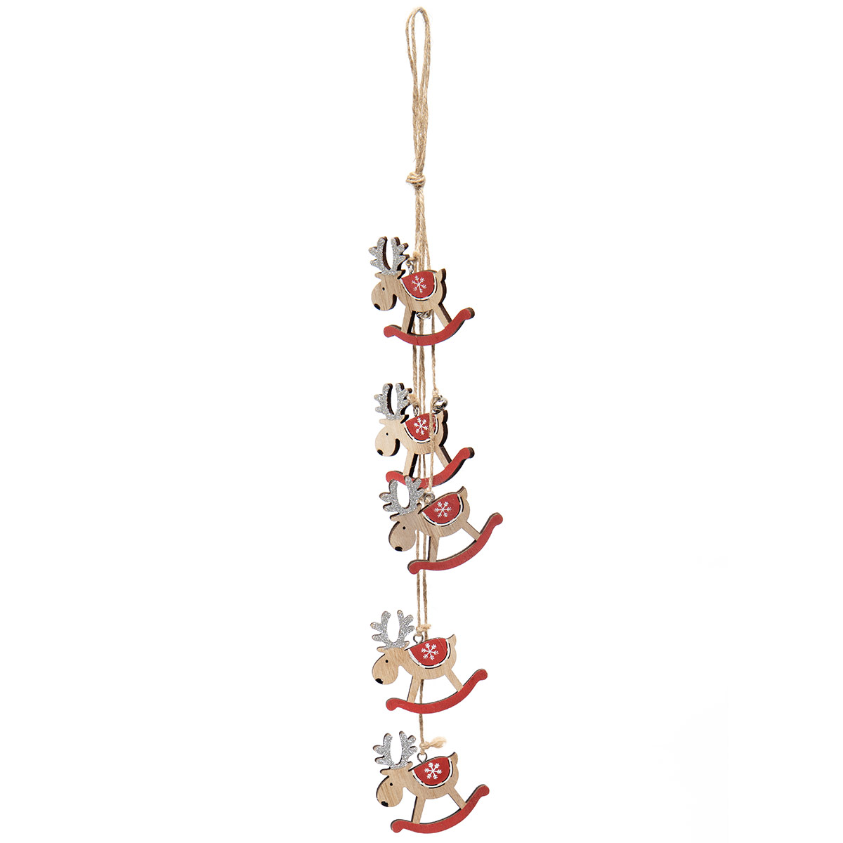 ROCKING MOOSE WOOD DANGLE ORNAMENT NATURAL/RED WITH