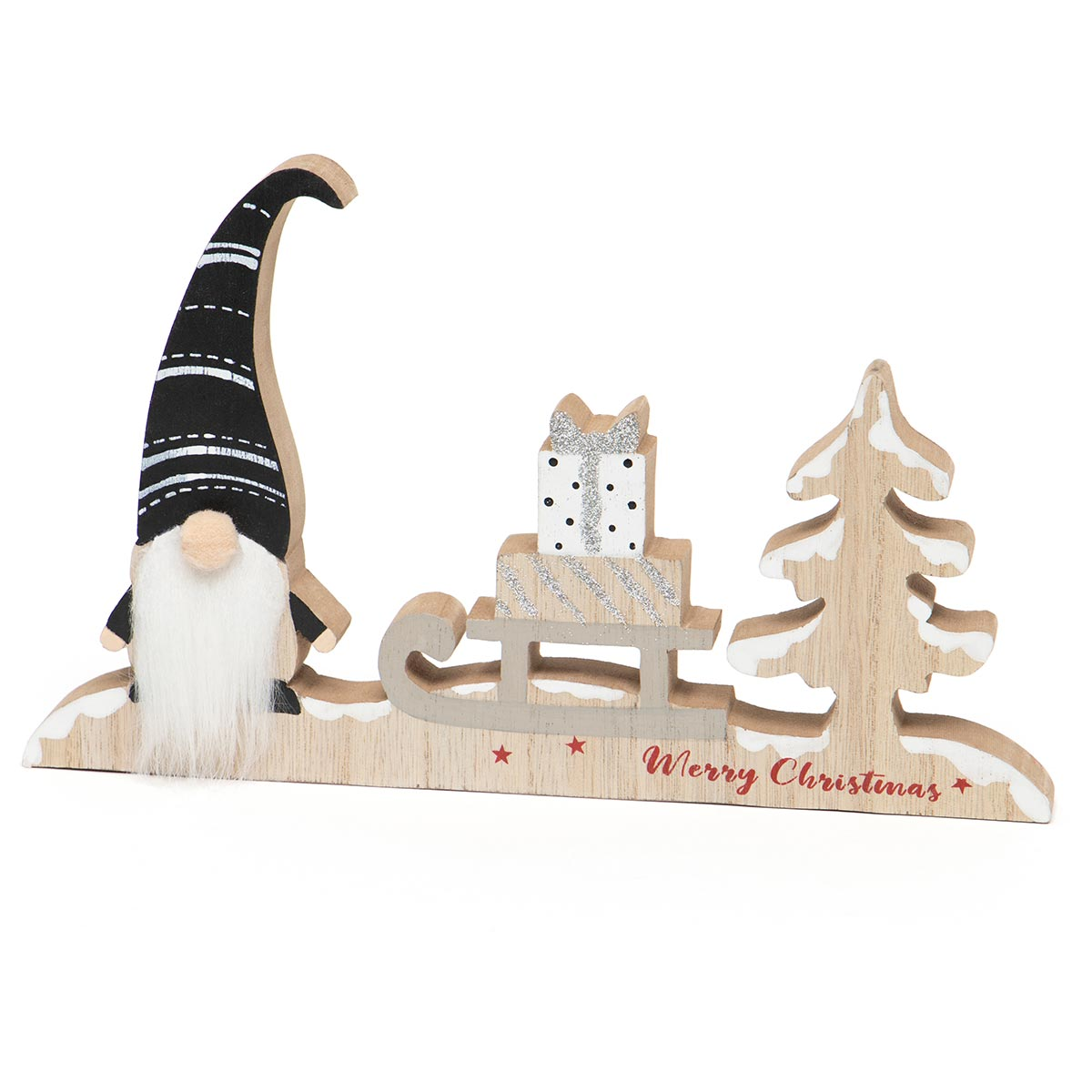 FALALA GNOME WOOD SHELF SITTER BLACK/WHITE/NATURAL WITH