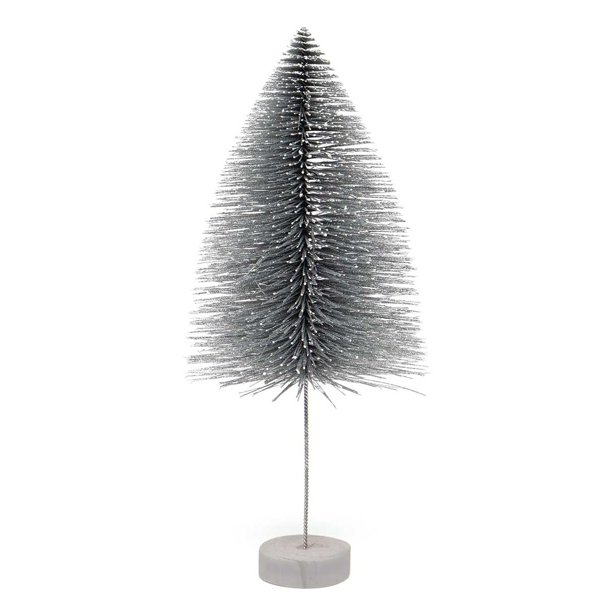 BRISTLE MANTLE TREE SILVER WITH SNOWY TIPS, GLITTER AND WOOD