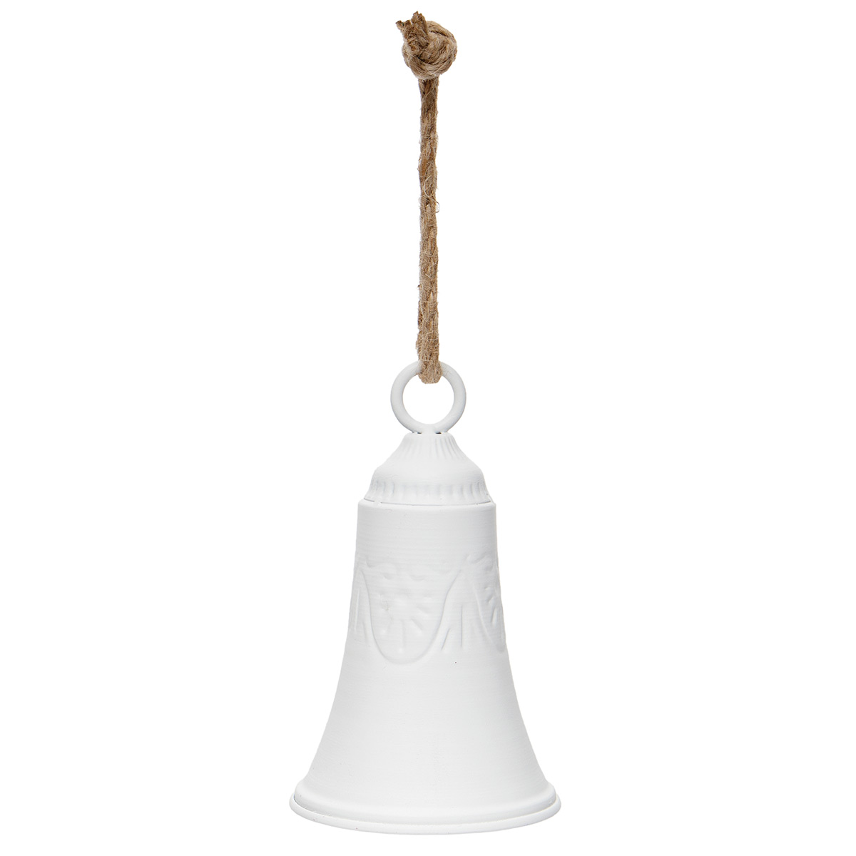 "METAL CHURCH BELL MATTE WHITE WITH ROPE HANGER 4""X7"""