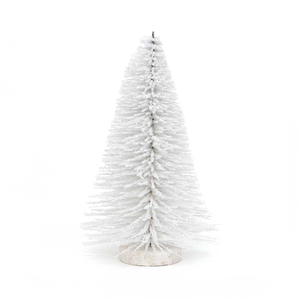SNOWED BRISTLE TREE FLOCKED WHITE WITH GLITTER AND WOOD BASE