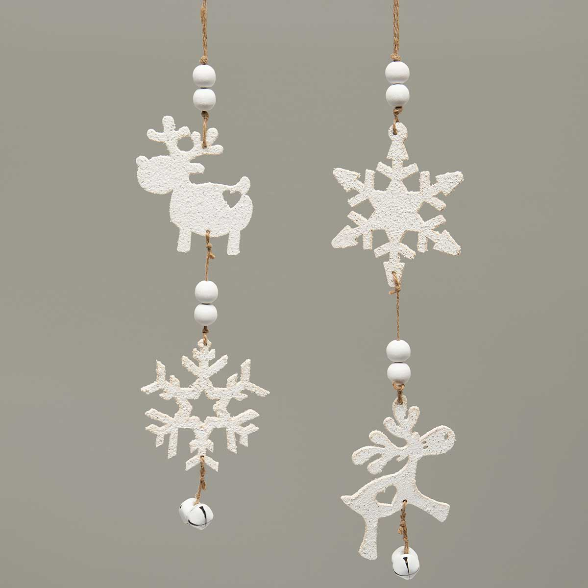 MOOSE AND SNOWFLAKE WOOD DANGLE ORNAMENT WITH GLITTER, BEADS