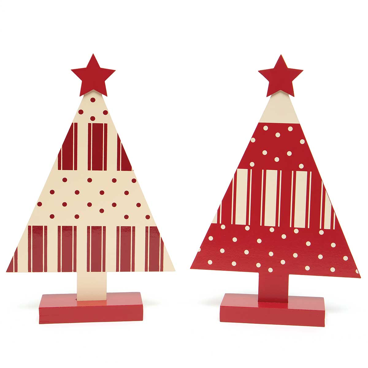 TICKING WOOD TREE RED/CREAM WITH STAR AND PINDOTS