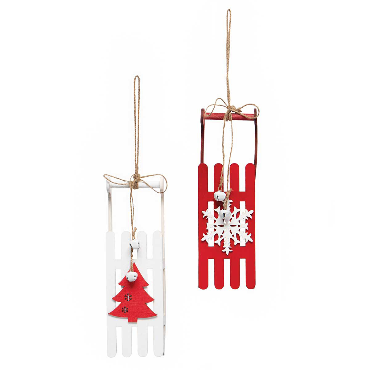 SNOWFALL SLED WOOD ORNAMENT RED/WHITE WITH JINGLE BELLS