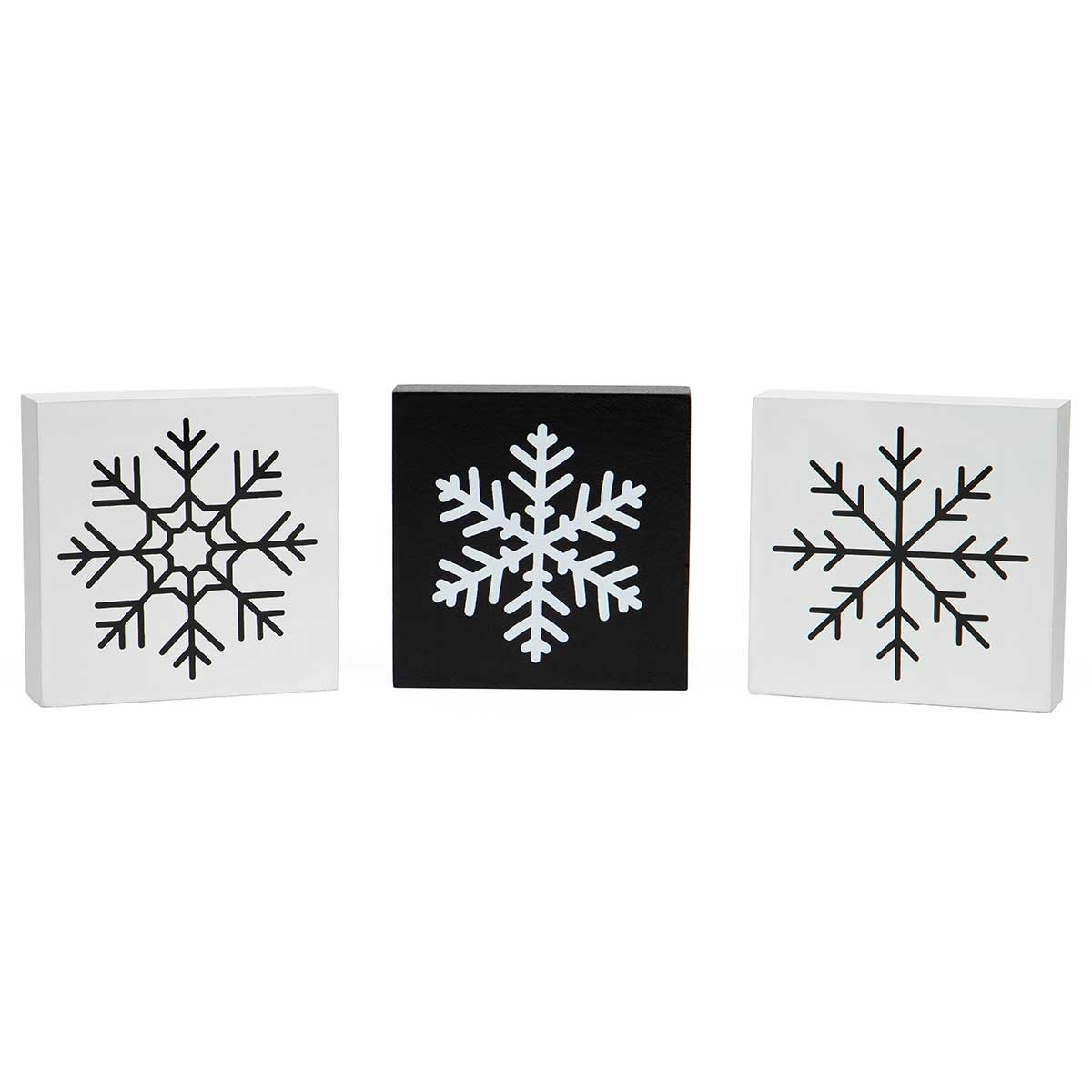 SNOWFLAKE SQUARE WOOD BLOCK SIT-A-BOUT BLACK/WHITE 3 ASSORTED