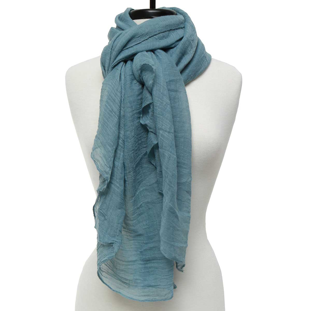 "BLUE SHEER GAUZY SCARF 75""X39"" *70sp"