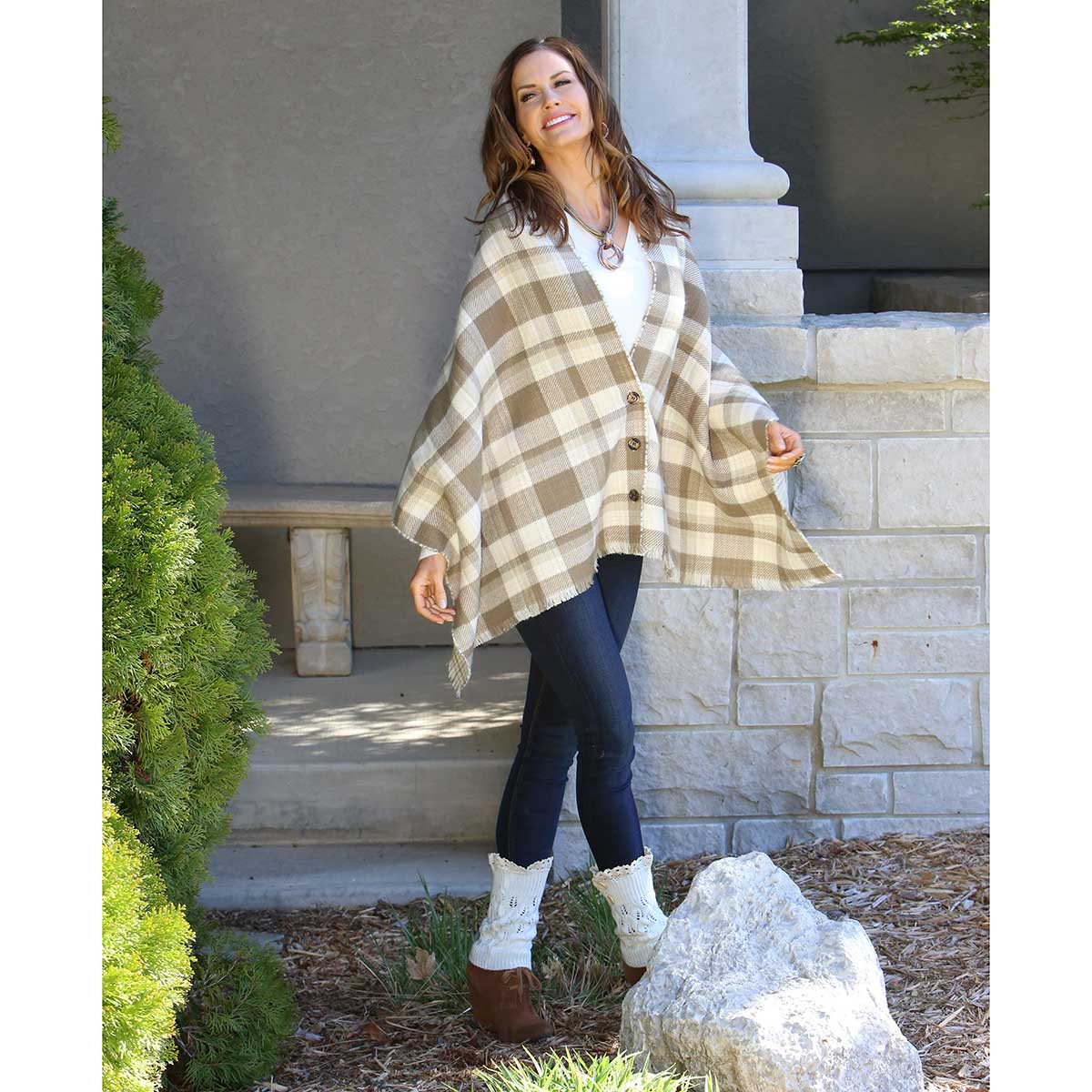 "KHAKI PETITE PLAID REVERSIBLE WRAP WITH BUTTONS 70""X24"" 70sp"
