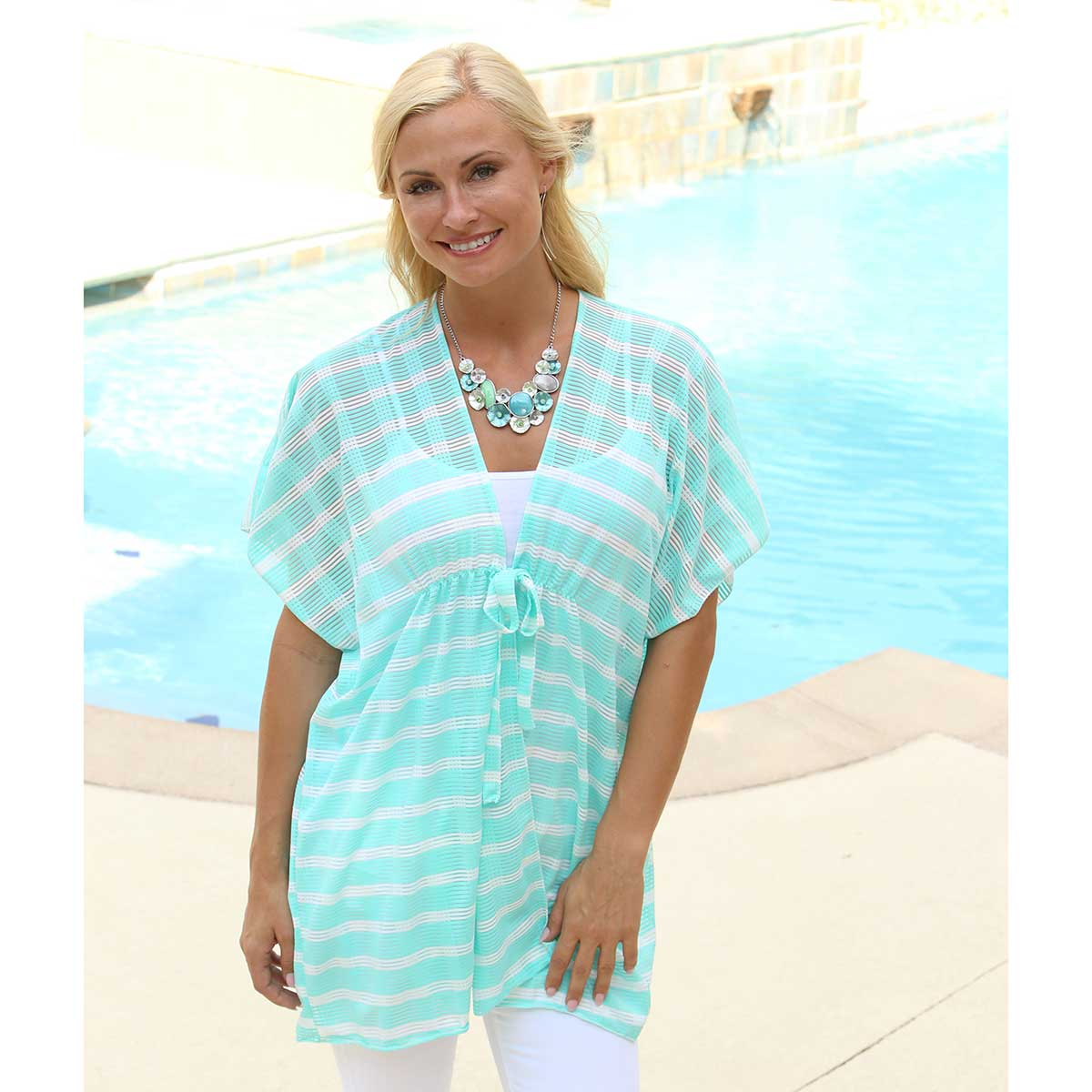 Teal and White Wavy Striped Tunic 50sp
