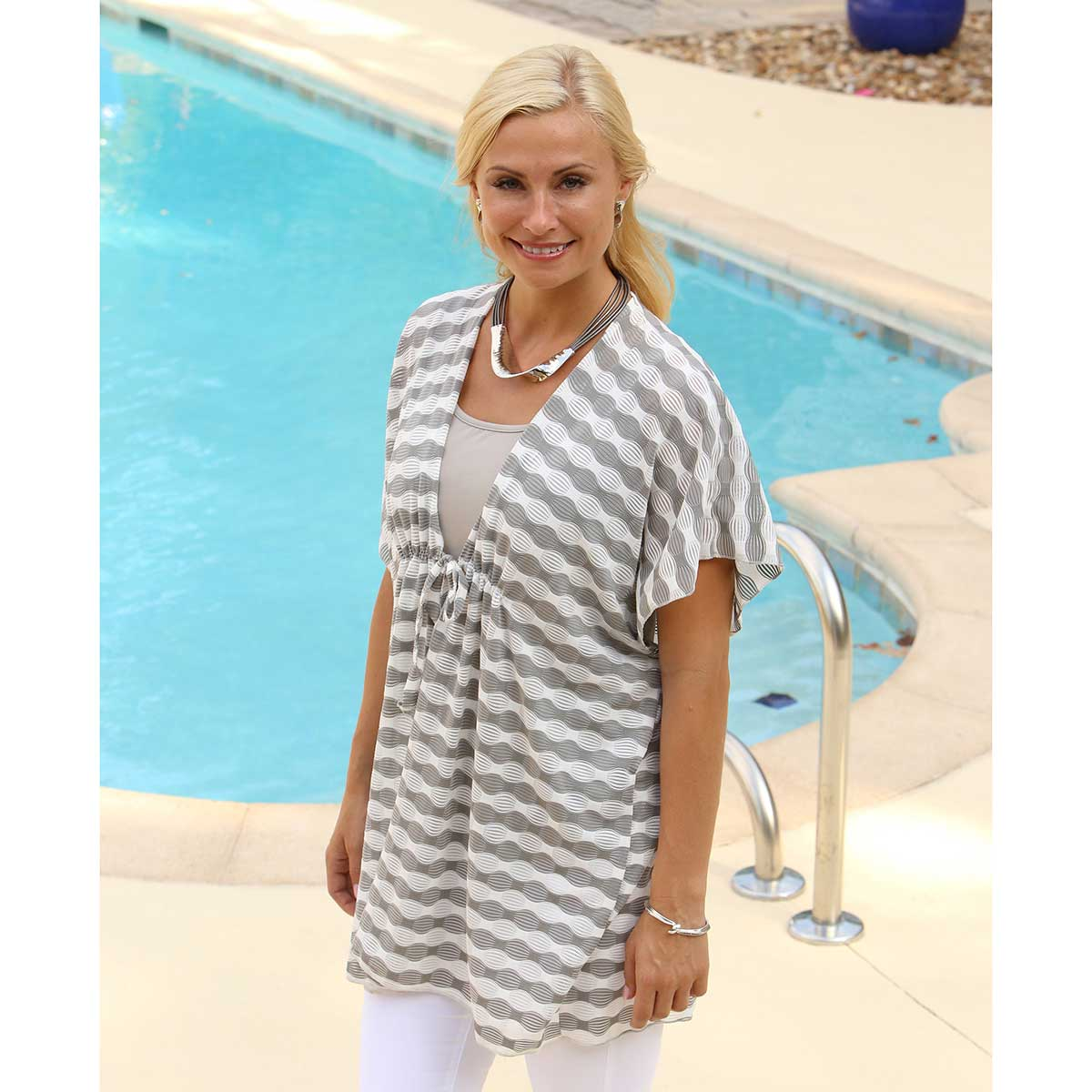 Grey and White Wavy Striped Tunic 50sp