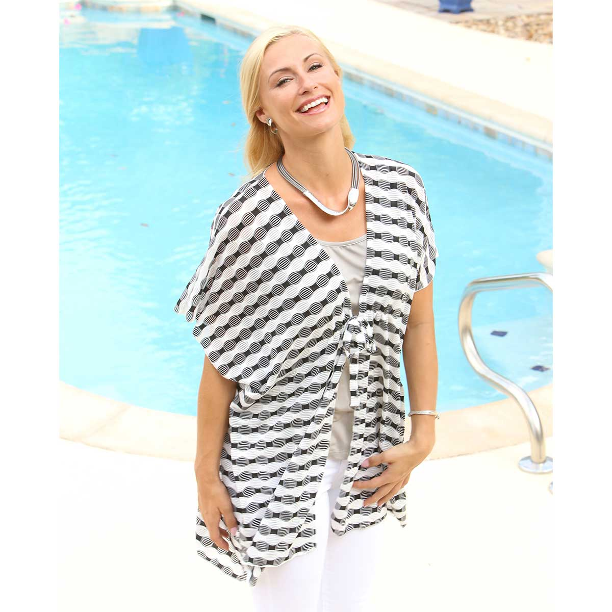 Black and White Wavy Striped Tunic 50sp