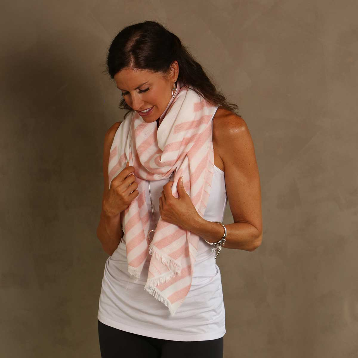 Peach Striped Shawl 50sp