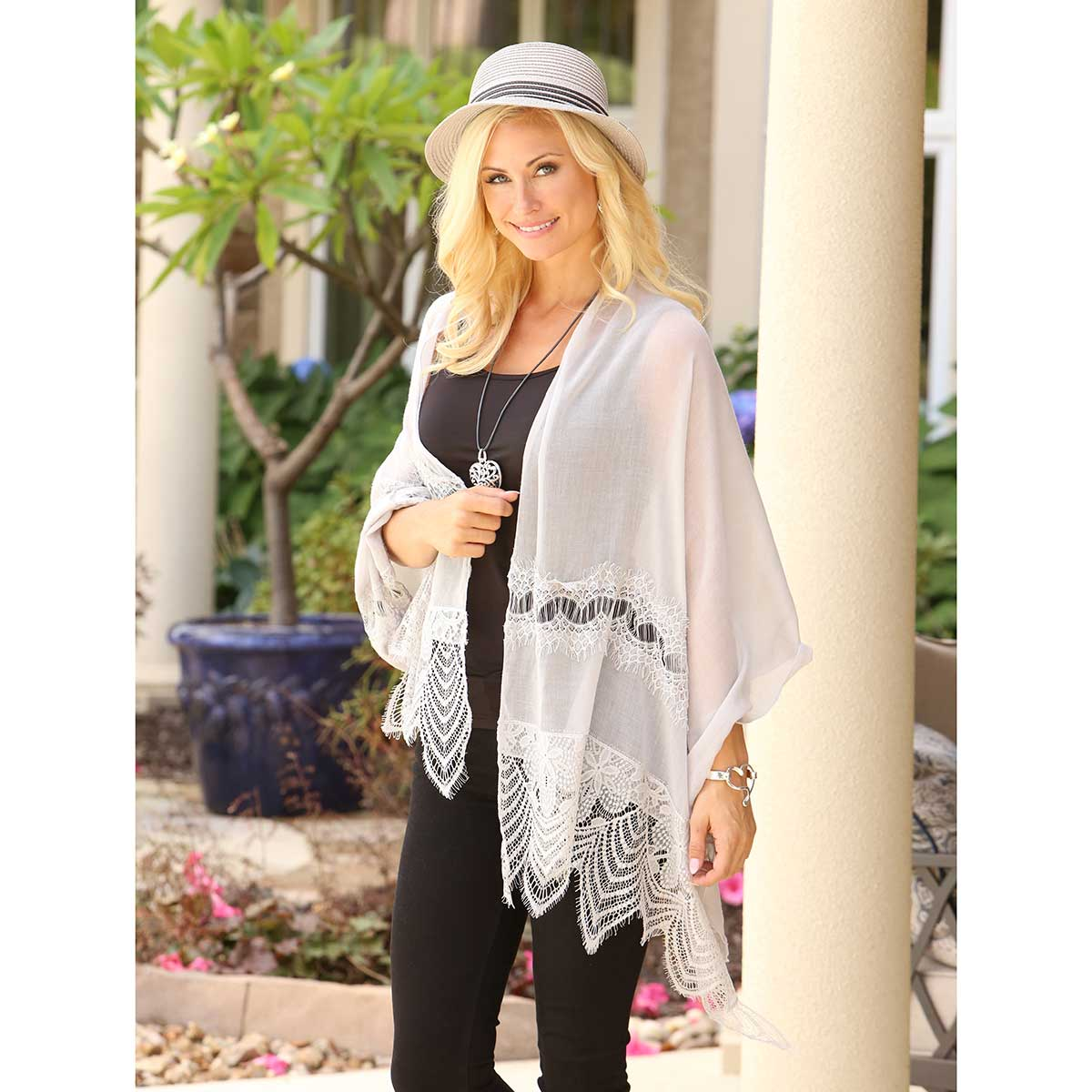 Grey Lacey Scarf 50sp