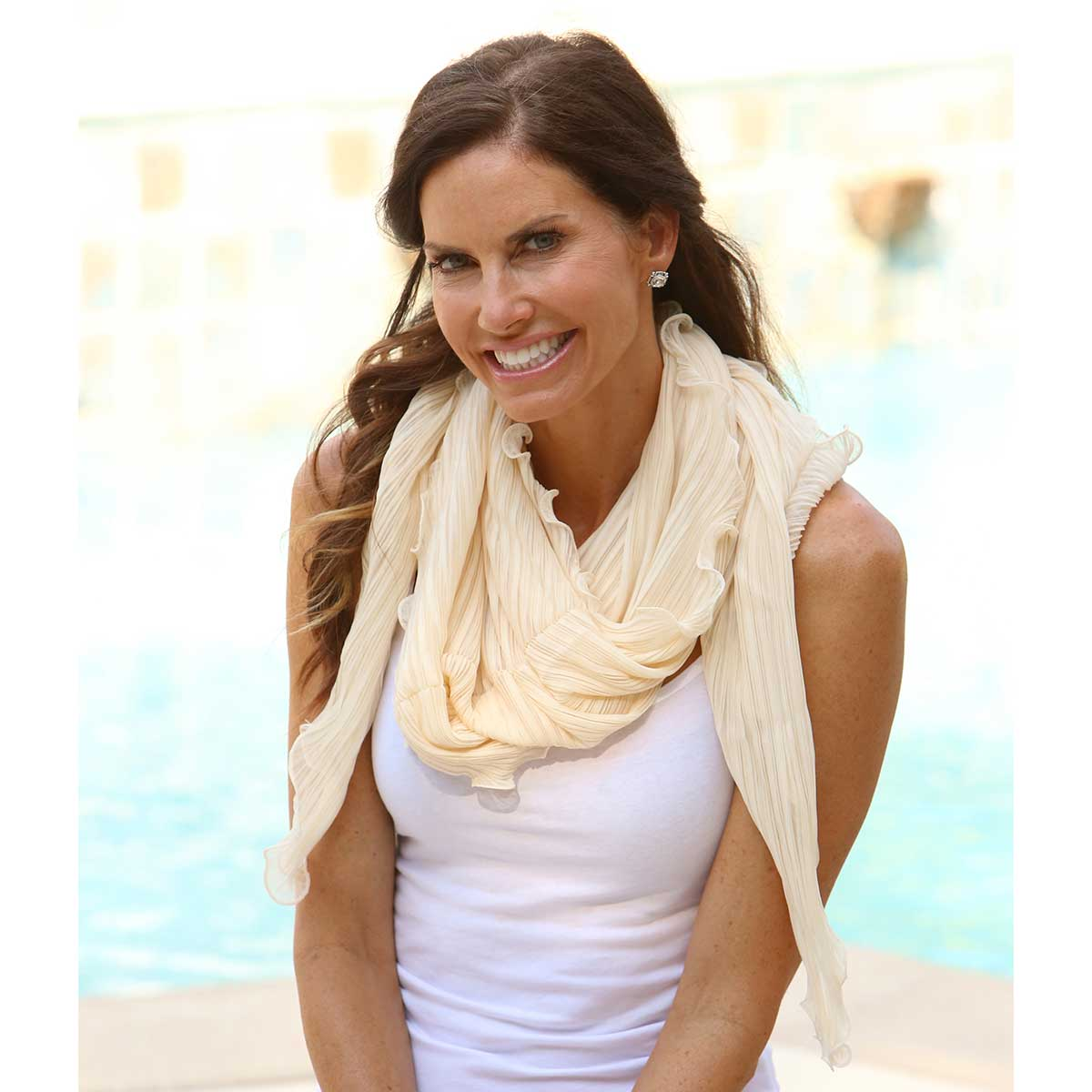 Cream Scallop Shrug Scarf 50sp