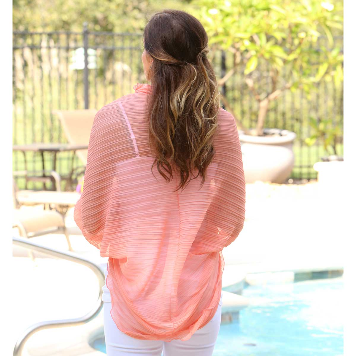 Peach Scallop Shrug Scarf 50sp
