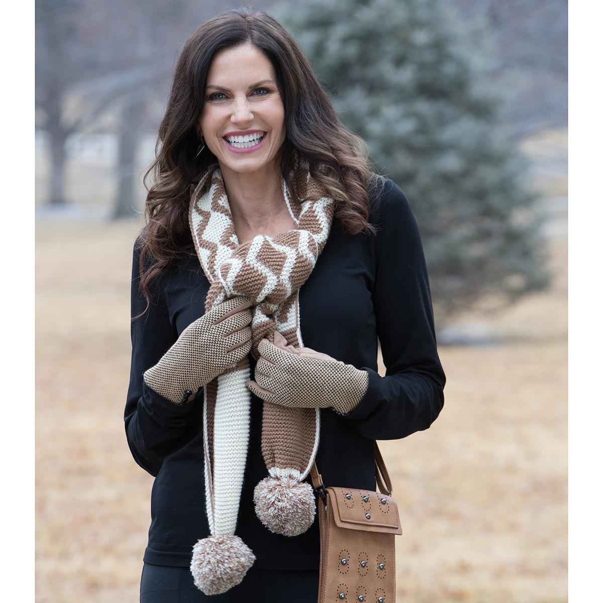Tan and Cream Pom-Pom Scarf 50sp