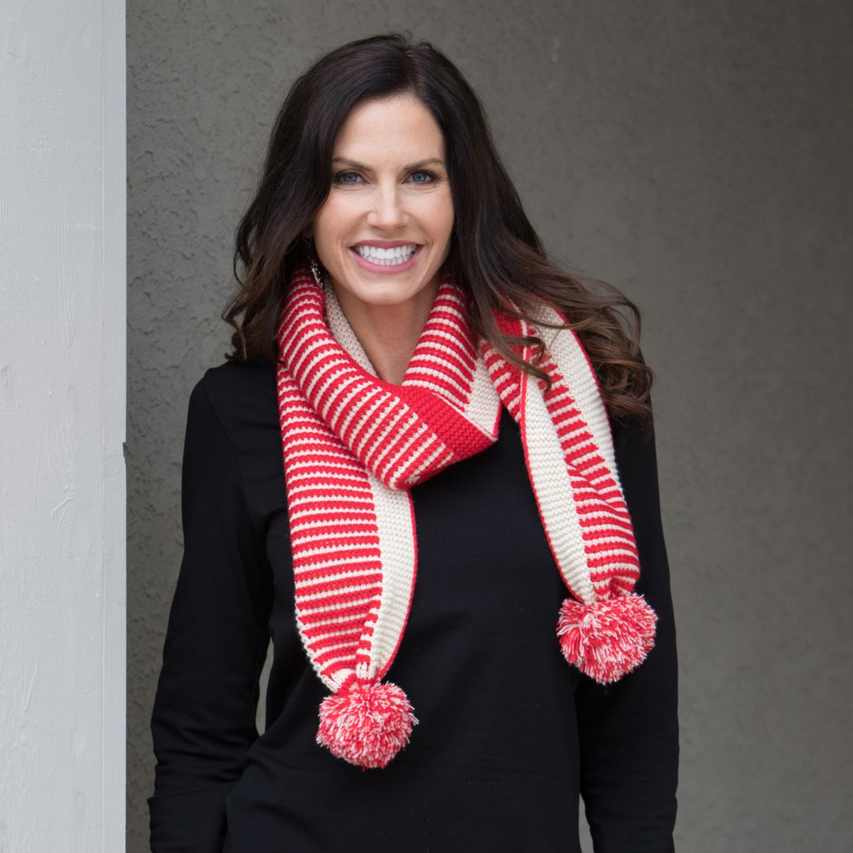 Red and Cream Stripe Pom-Pom Scarf 50sp