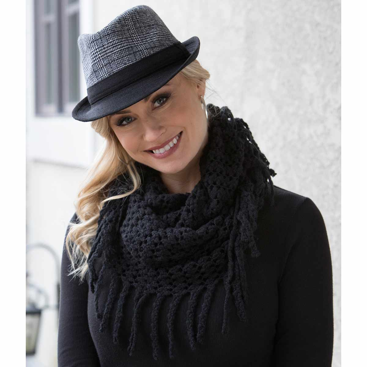 Black Infinity Scarf with Fringe 50sp