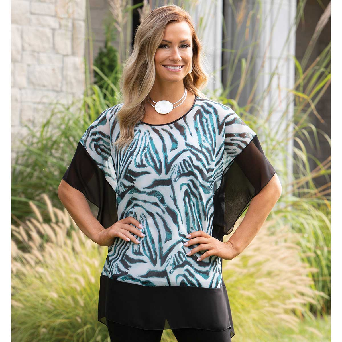 "Block Tunic with Teal Zebra Print and Black Trim 30""x30"""