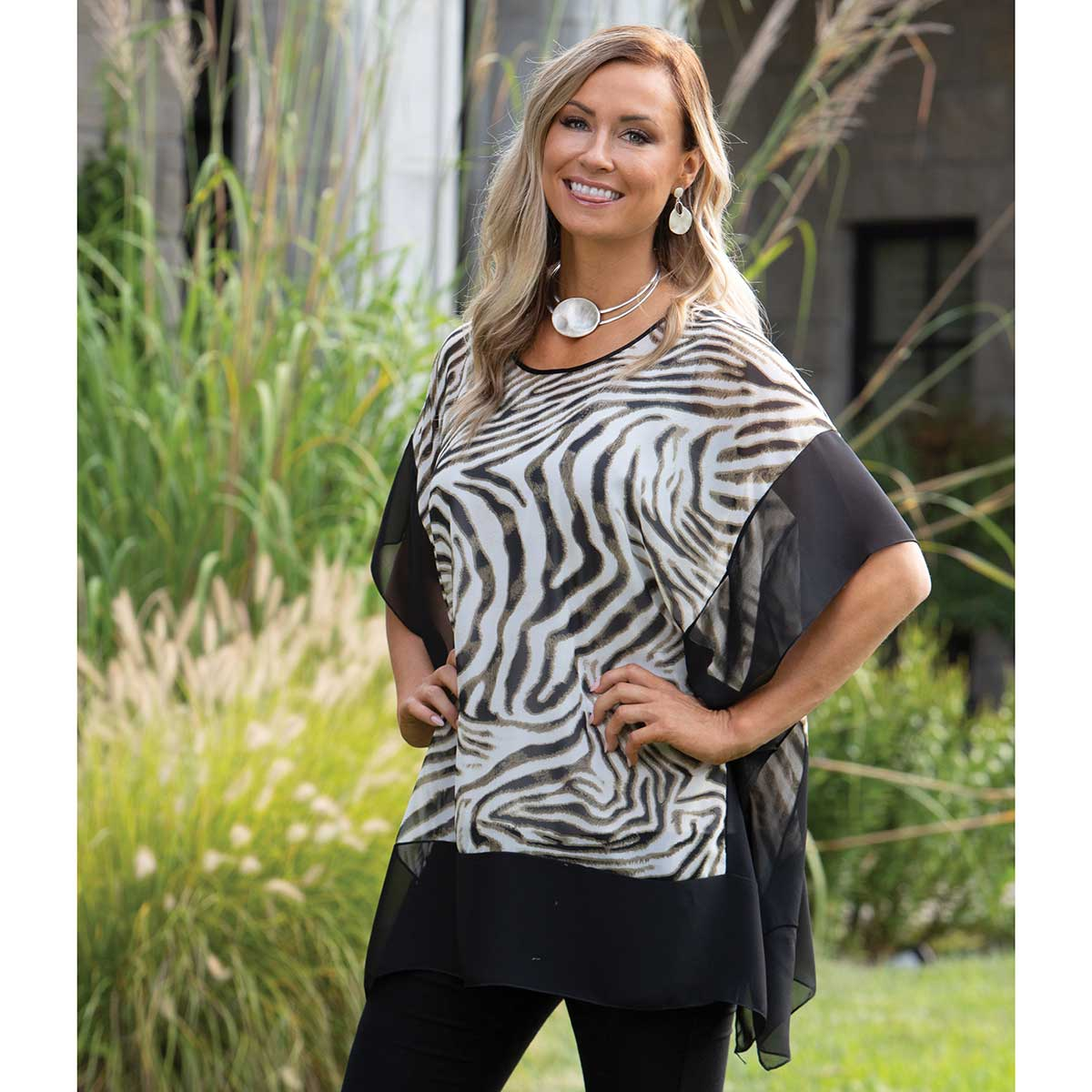 "Block Tunic with Cream Zebra Print and Black Trim 30""x30"""