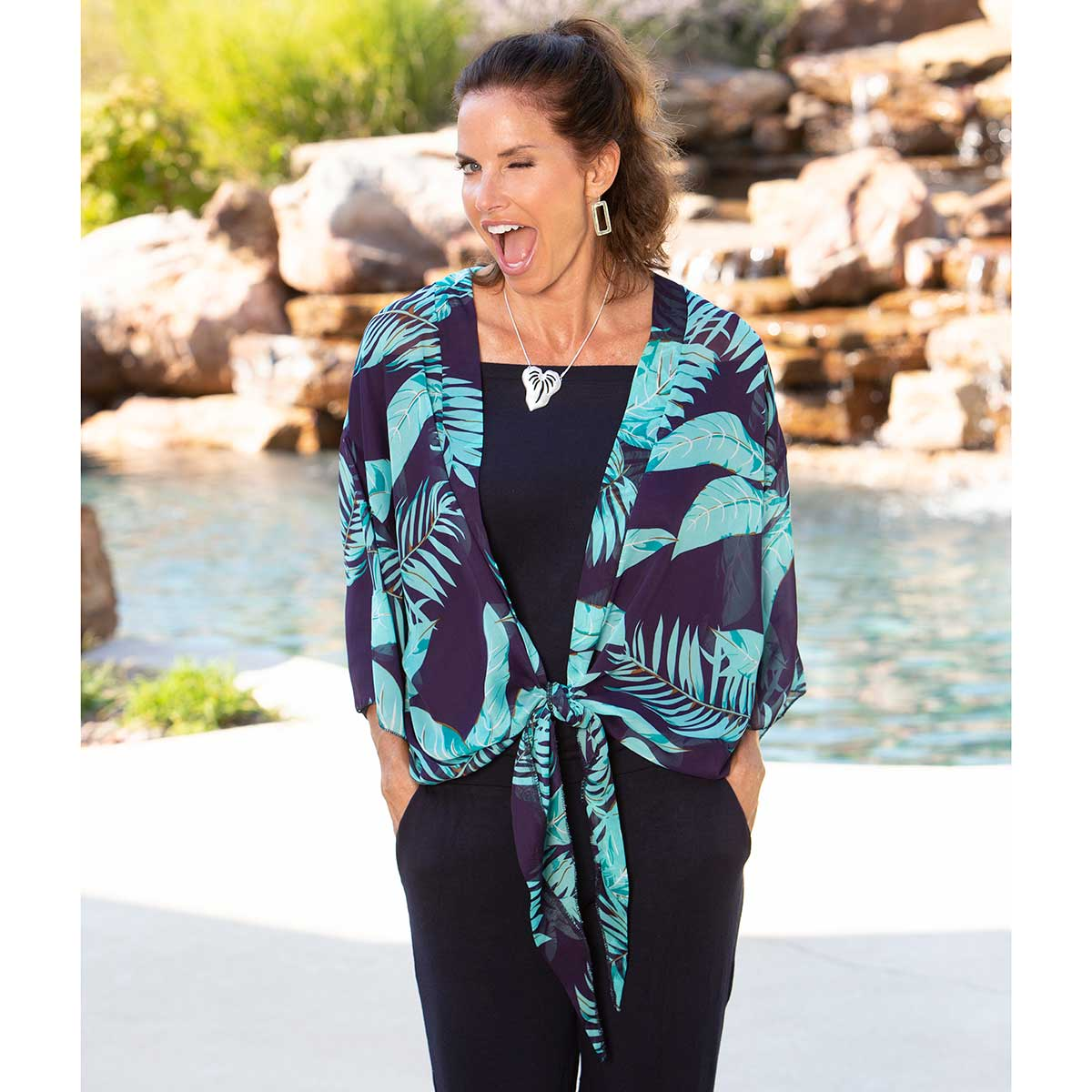 "Jacket with Teal Fronds and Tie Closure 54""x24"""