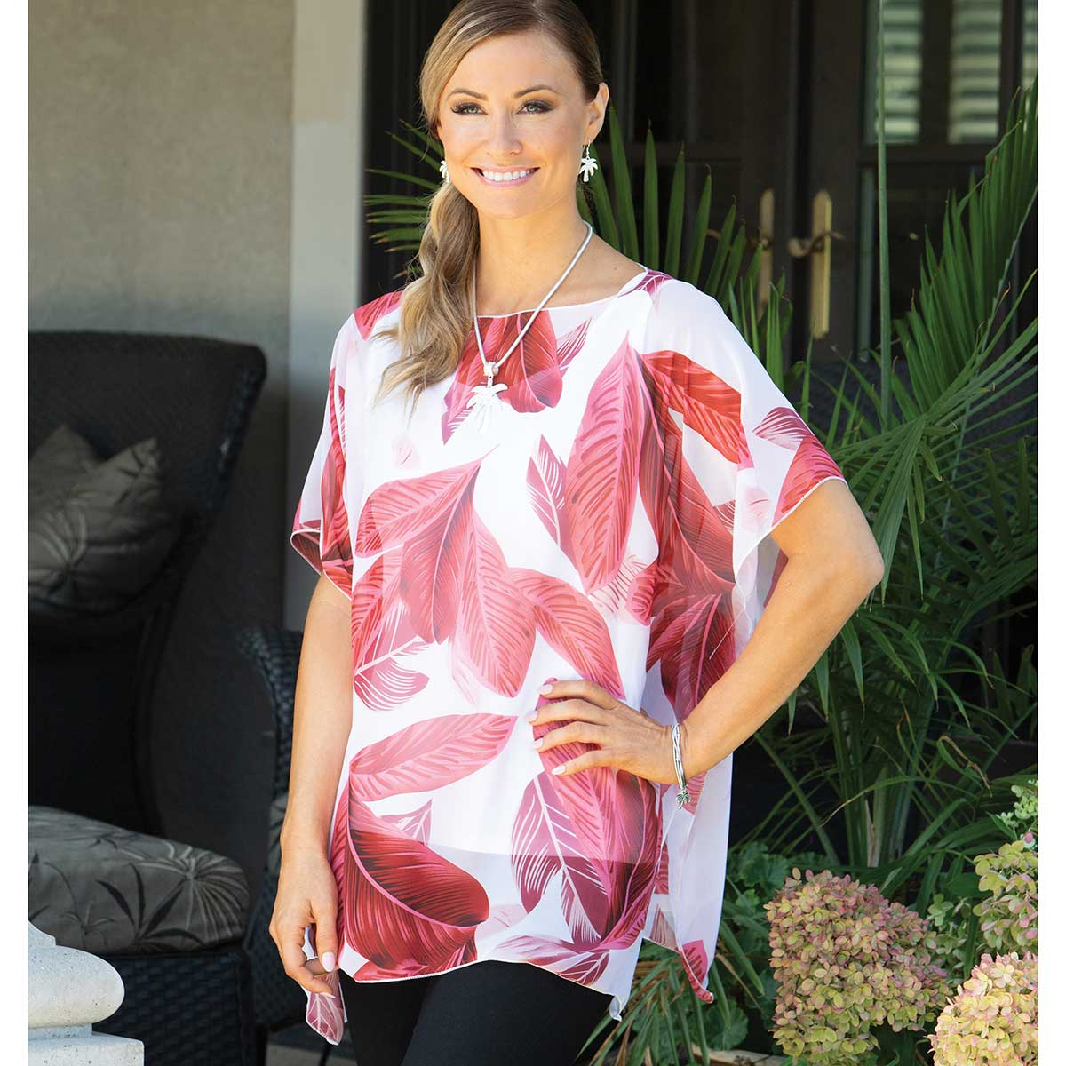 "Tunic with Red Palm Leaf Pattern 35""x29"""