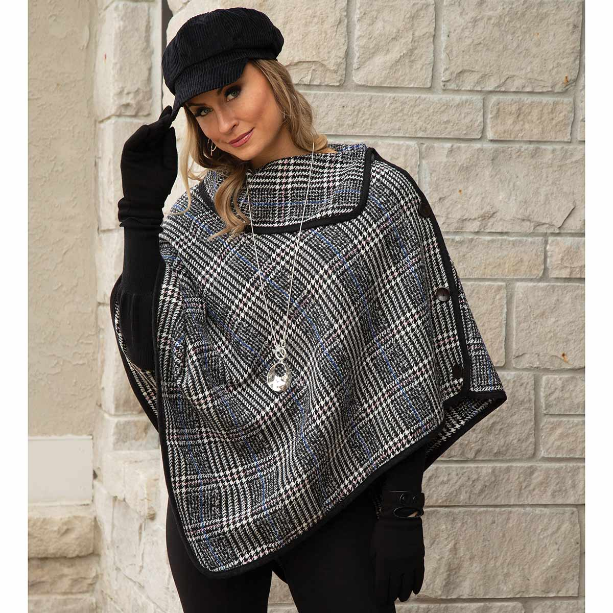 Black and Cream Poncho with Collar