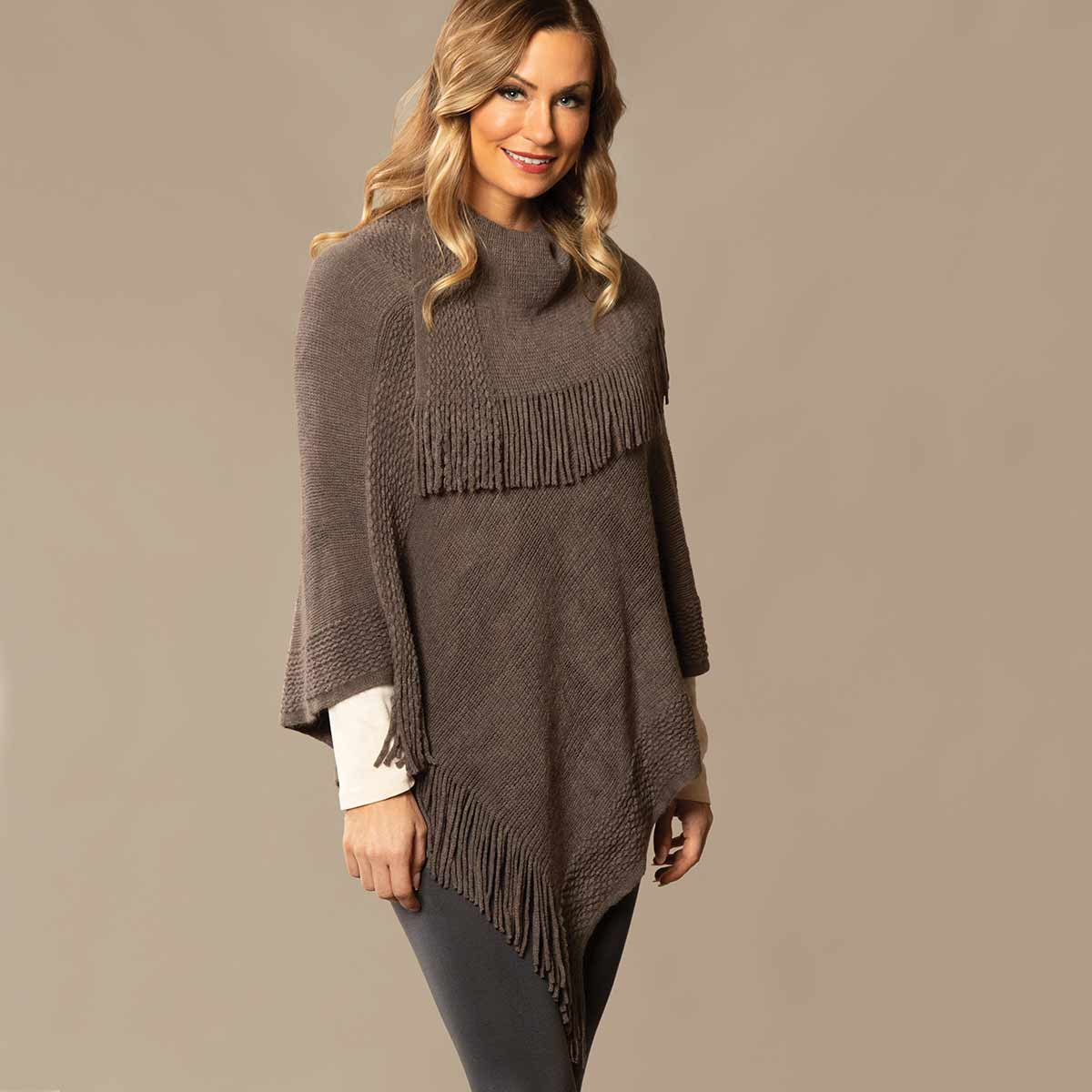 Dark Grey Knit Poncho with Collar and Fringe