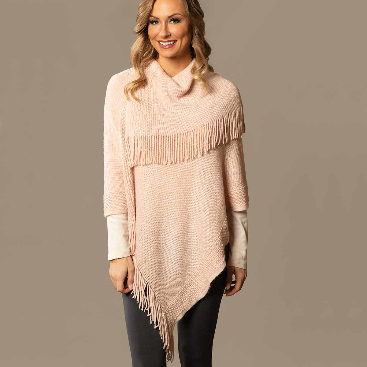 Pink Knit Poncho with Collar and Fringe