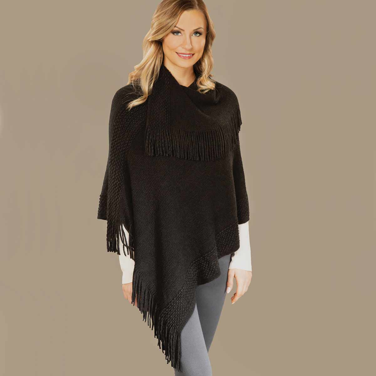 Black Knit Poncho with Collar and Fringe