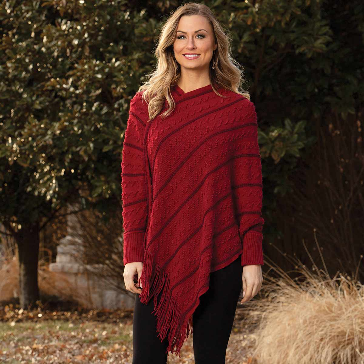 Burgundy Knit Poncho with Sleeve