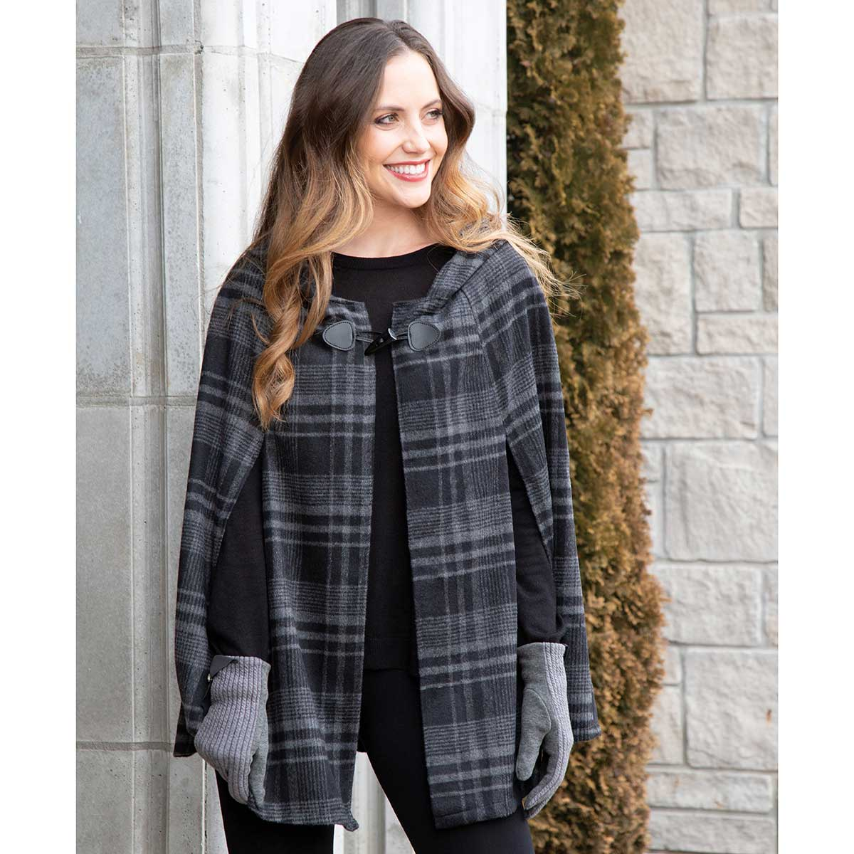 Dark Grey and Black Plaid Cape with Toggle Clasp and Hood