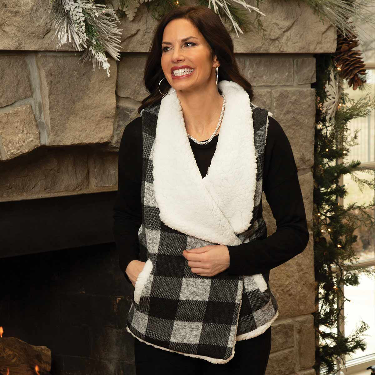 Black and Grey Buffalo Plaid Fleece Vest with Pockets