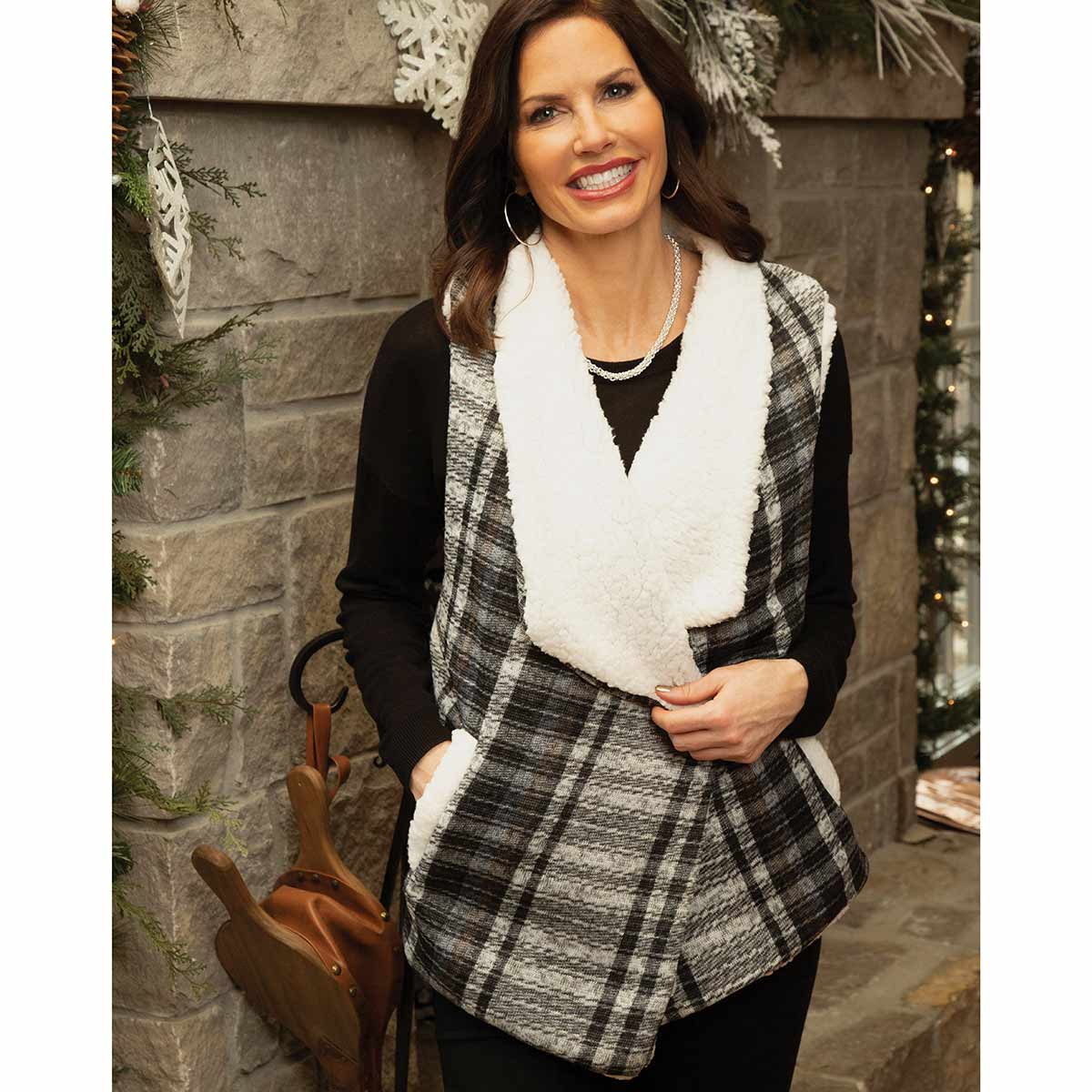 Grey and Black Plaid Fleece Vest with Pockets