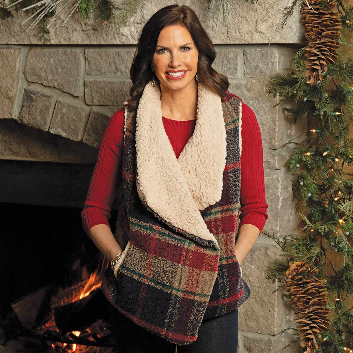 NAVY AND BURGUNDY BOUCLE PLAID FLEECE LINED VEST