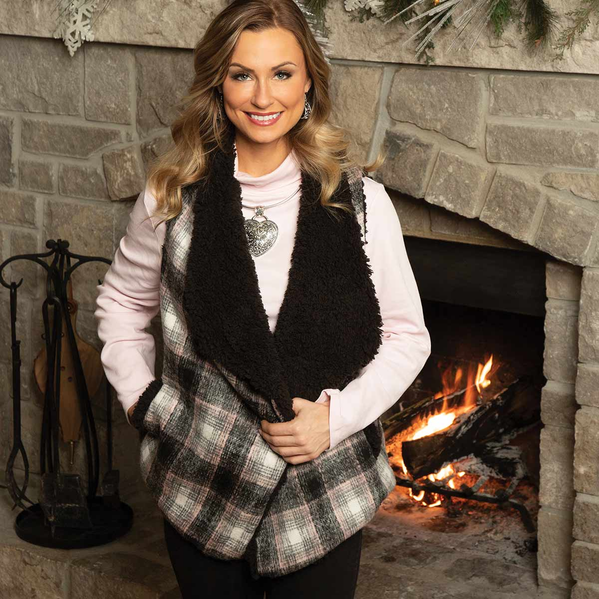 GREY AND PINK PLAID FLEECE LINED VEST WITH