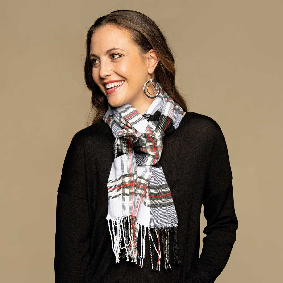 Grey, Red and Black Plaid Scarf