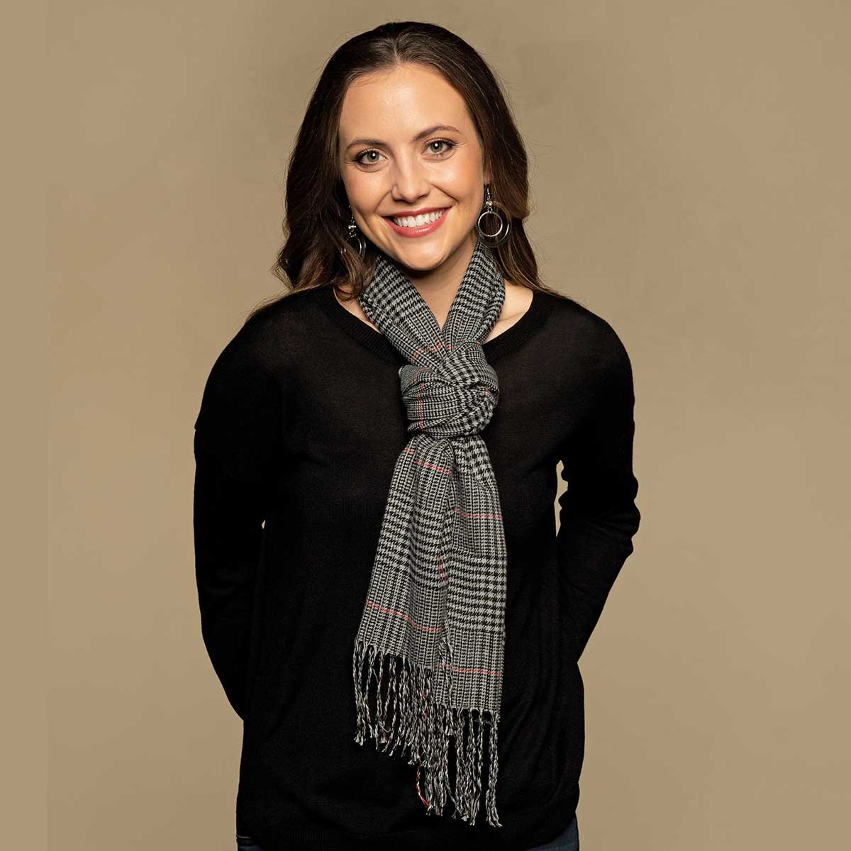 Dark Grey Mini Plaid Scarf