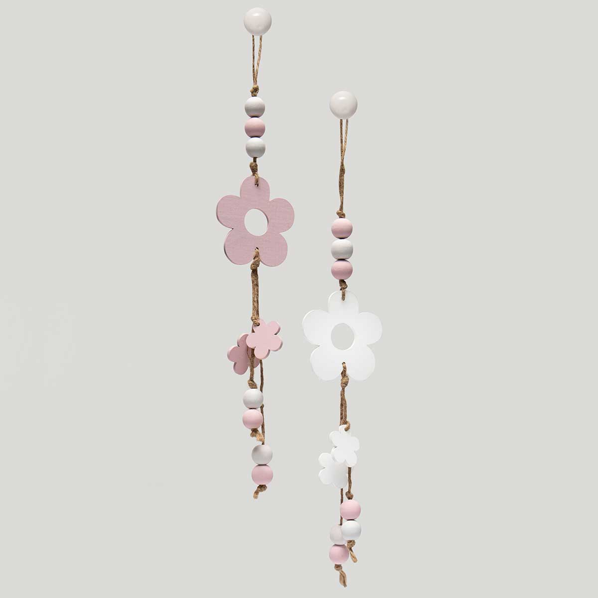 "FLOWER/BEAD WOODEN HANG-UPS PINK/WHITE 2 ASSORTED 3""x.75""x18"""