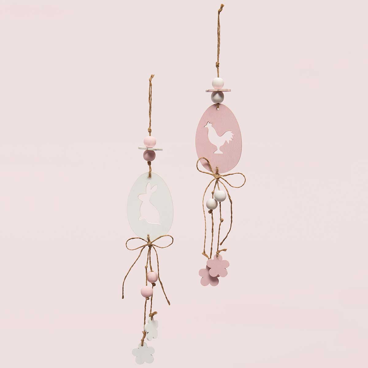 EGG WITH BUNNY/CHICK WOODEN HANG-UPS PINK/WHITE WITH TWINE AND