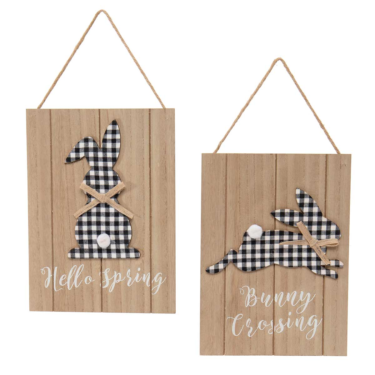 BUNNY CROSSING/HELLO SPRING WOODEN SIGN BLACK/WHITE WITH PLAID
