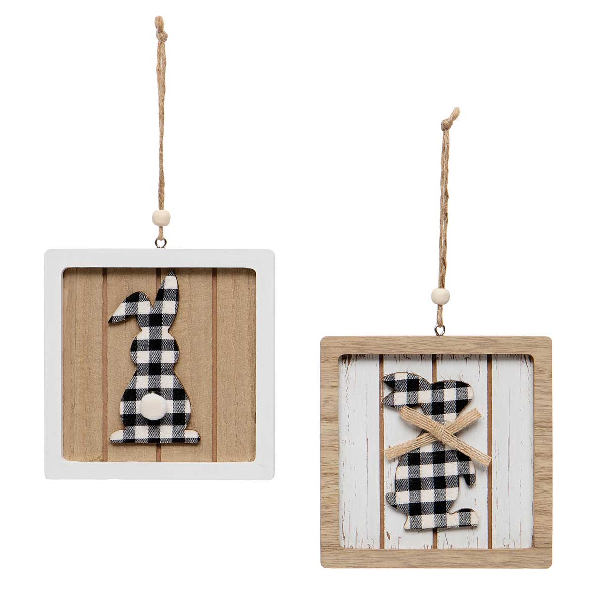 BUNNIES IN FRAME WOODEN SILHOUETTES BLACK/WHITE PLAID WITH TWINE
