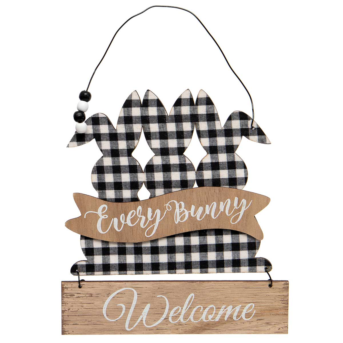 TRIPLE BUNNY EVERY BUNNY WELCOME SIGN WITH BLACK/WHITE PLAID BUN