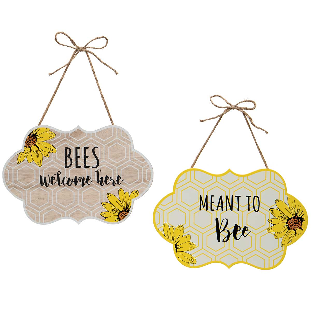 BEES WELCOME HERE/MEANT TO BEE WOODEN BEE WALL PLAQUE