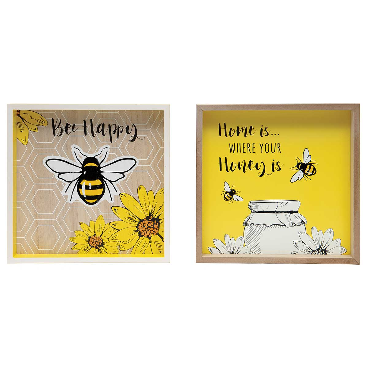 HOME IS WHERE YOUR HONEY IS/BEE HAPPY WOODEN SQUARE BEE PLAQUE