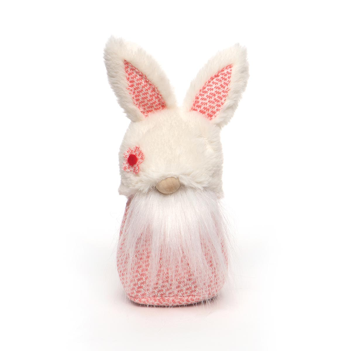 SPRING FLING BUNNY GNOME WITH FUZZY HAT, WOOD NOSE AND WHITE