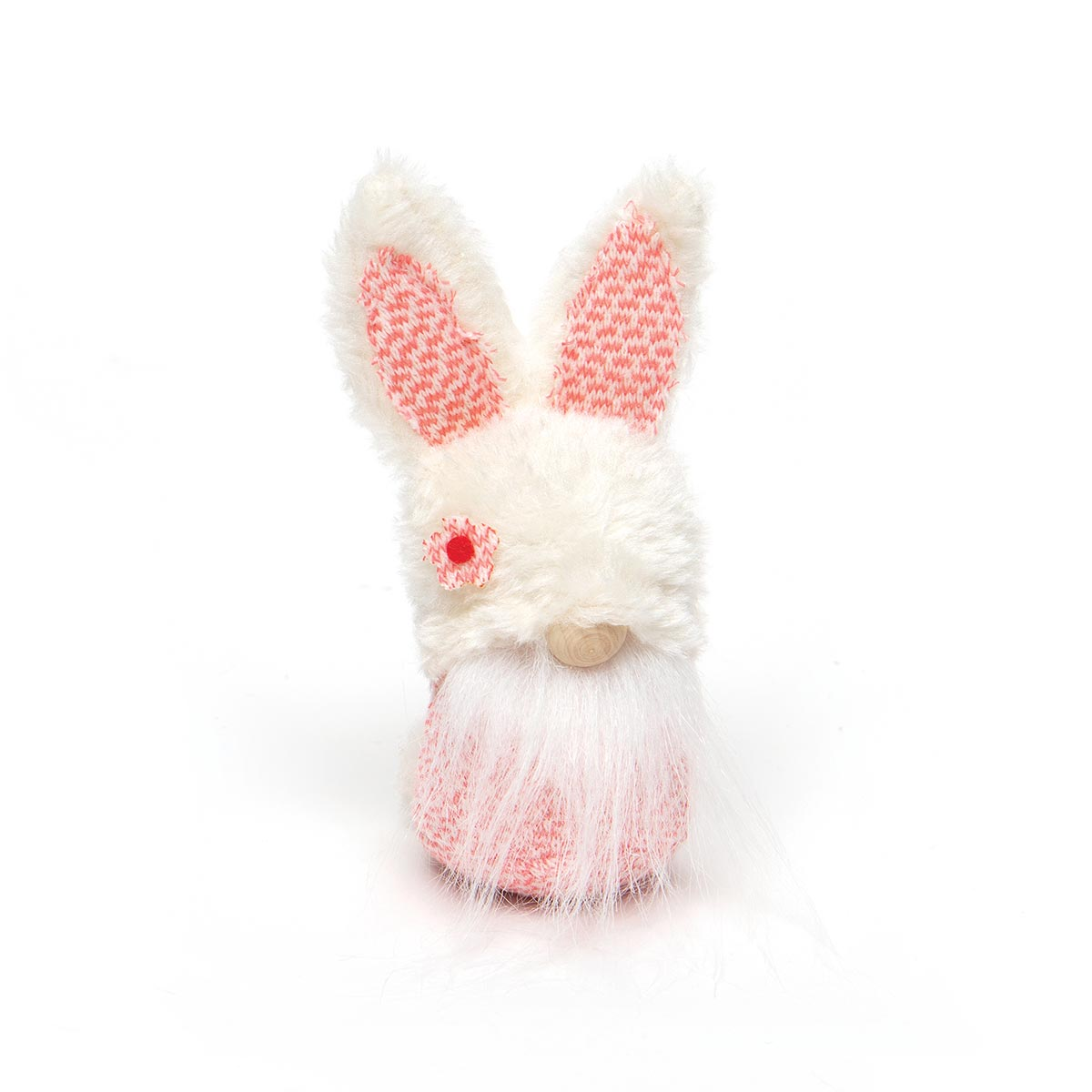 SPRING FLING BUNNY GNOME ORNAMENT WITH FUZZY HAT, WOOD NOSE AND