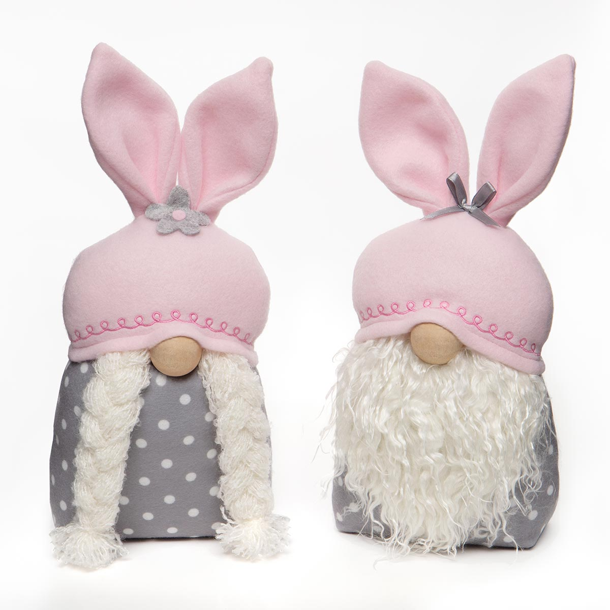 BUTTON AND BOWS BUNNY GNOME WITH PINK BUNNY EARS, WOOD NOSE,