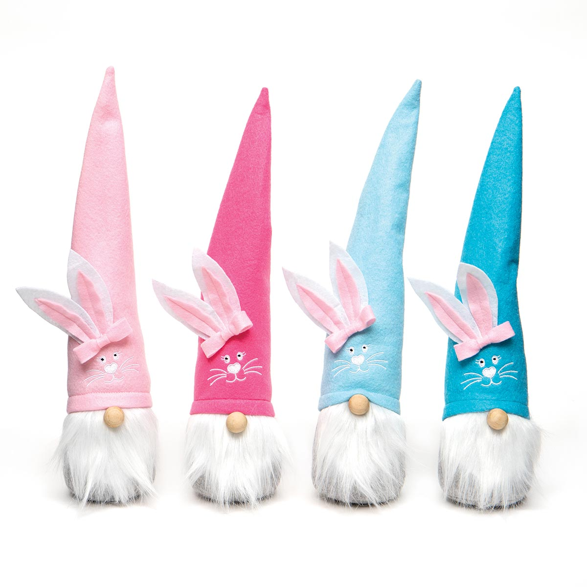 FUNNY BUNNY FACE GNOME WITH BUNNY EARS HAT, WOOD NOSE AND