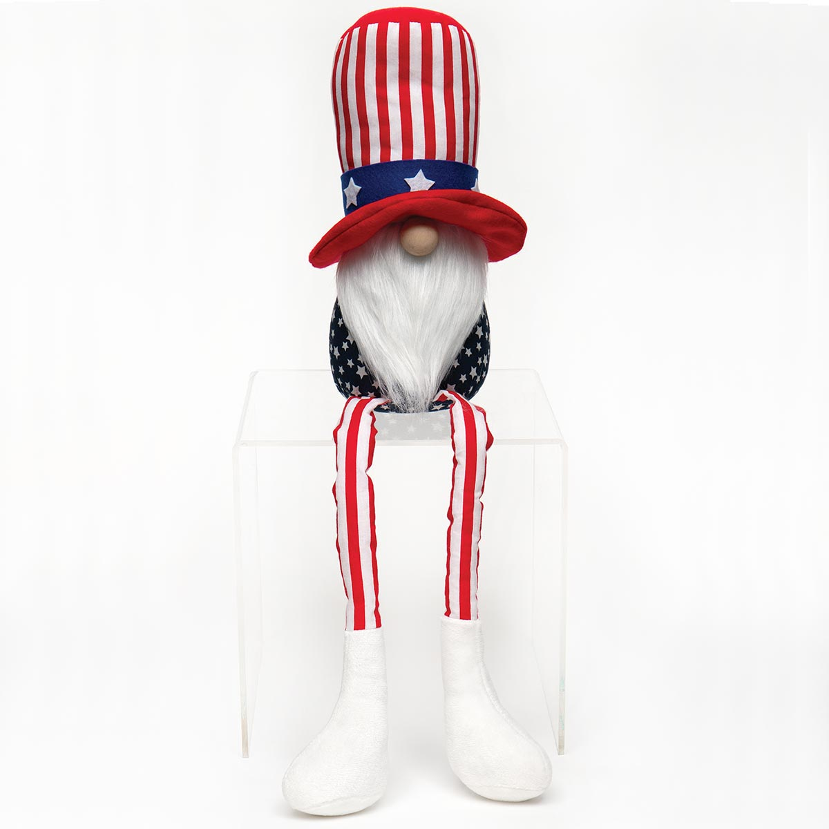 AMERICANO GNOME WITH UNCLE SAM HAT, WOOD NOSE, WHITE BEARD